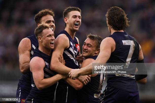 Taylin Duman of the Dockers celebrates after scoring a goal during the 2019 AFL round 20 match between the Fremantle Dockers and the Geelong Cats at...