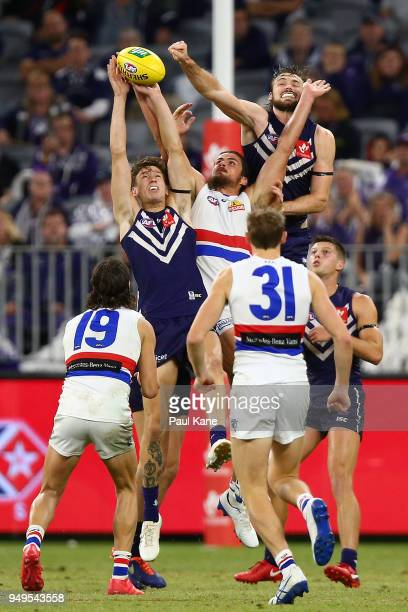 Taylin Duman of the Dockers contests for a mark against Tom Boyd of the Bulldogs during the round five AFL match between the Fremantle Dockers and...
