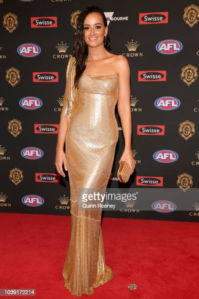 Taylor Adams of the Magpies partner Ellie Thornycroft arrives ahead of the 2018 Brownlow Medal at Crown Entertainment Complex on September 24 2018 in...