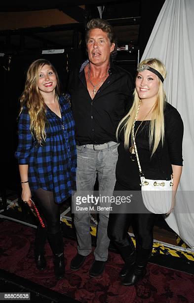 "Taylor Ann Hasselhoff and Hayley Amber Hasselhoff with their father David Hasselhoff attend the musical ""Chicago"" at the Cambridge Theatre on July 2,..."