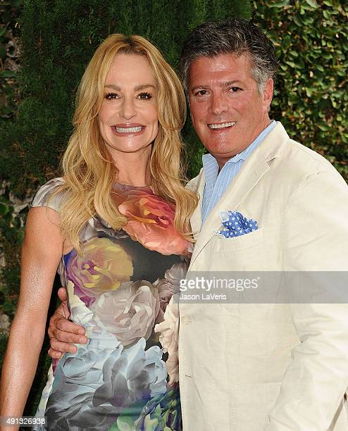 Taylor Armstrong and husband John Bluher attend the Rape Foundation's annual brunch at Greenacres The Private Estate of Ron Burkle on October 4 2015...
