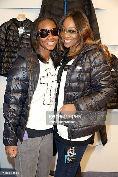 Taylor Ayanna Crawford and singer Yolanda Adams attend the GRAMMY Gift Lounge during The 58th GRAMMY Awards at Staples Center on February 14 2016 in...