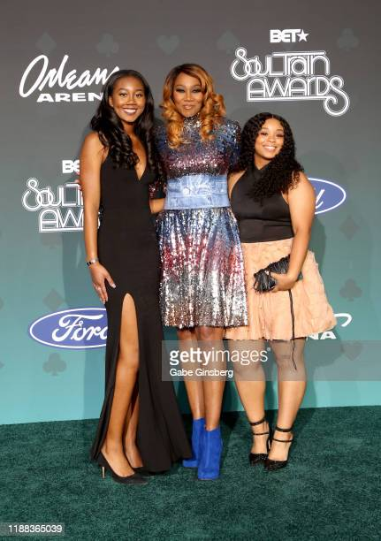 Taylor Ayanna Crawford Yolanda Adams and a guest attend the 2019 Soul Train Awards at the Orleans Arena on November 17 2019 in Las Vegas Nevada