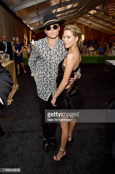 Taylor Beau and Anne Winters attend the 5th Anniversary Los Angeles Dodgers Foundation Blue Diamond Gala at Dodger Stadium on June 12 2019 in Los...