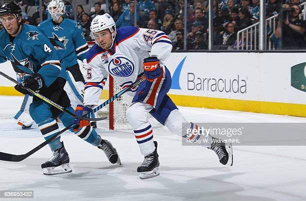 Taylor Beck of the Edmonton Oilers skates against the San Jose Sharks at SAP Center on December 23 2016 in San Jose California