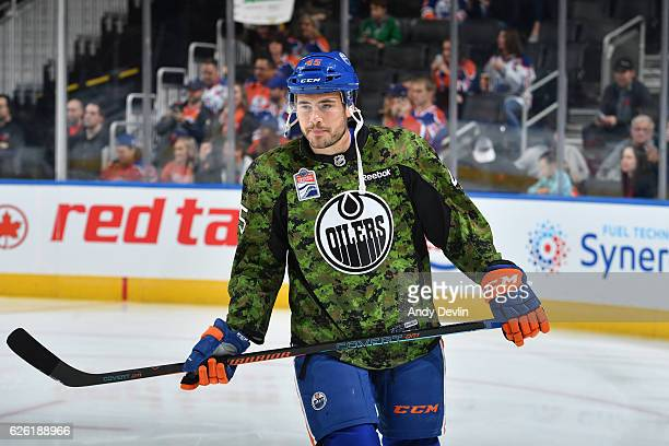 Taylor Beck of the Edmonton Oilers warms up prior to the game against the Dallas Stars on November 11 2016 at Rogers Place in Edmonton Alberta Canada