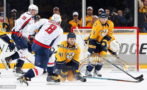 Taylor Beck of the Nashville Predators blocks the shot of Alex Ovechkin of the Washington Capitals during an NHL game at Bridgestone Arena on January...