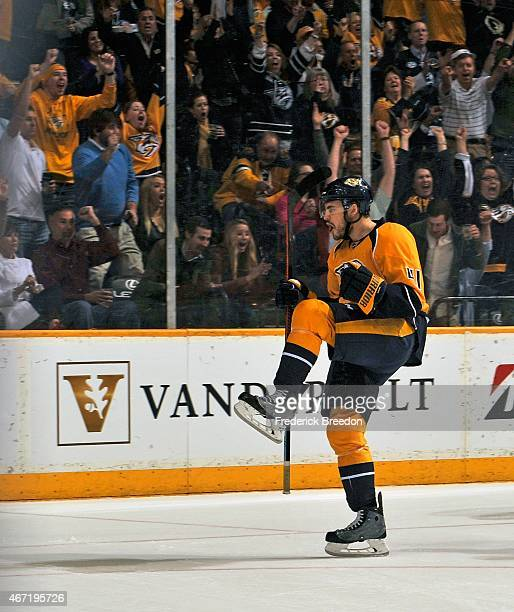 Taylor Beck of the Nashville Predators celebrates after scoring a goal during the second period of a game against the Buffalo Sabres at Bridgestone...
