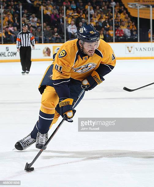 Taylor Beck of the Nashville Predators skates against the Calgary Flames during an NHL game at Bridgestone Arena on March 29 2015 in Nashville...