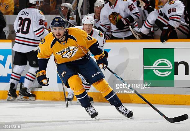 Taylor Beck of the Nashville Predators skates against the Chicago Blackhawks in Game One of the Western Conference Quarterfinals during the 2015 NHL...