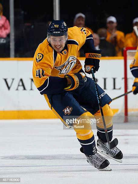 Taylor Beck of the Nashville Predators skates against the Dallas Stars at Bridgestone Arena on October 11 2014 in Nashville Tennessee