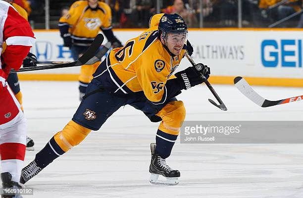 Taylor Beck of the Nashville Predators skates against the Detroit Red Wings during an NHL game at the Bridgestone Arena on April 14 2013 in Nashville...