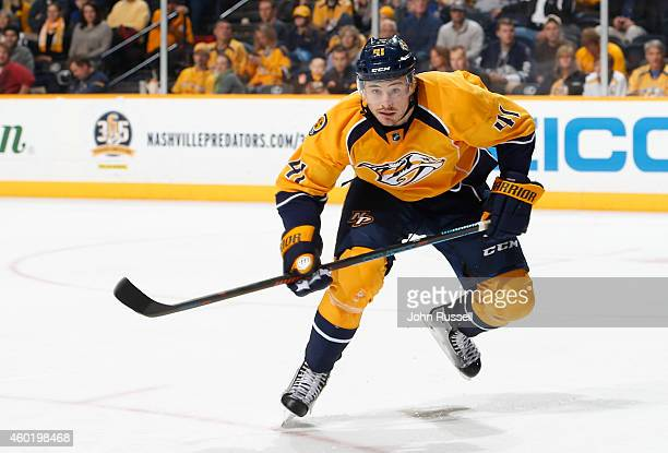 Taylor Beck of the Nashville Predators skates against the St Louis Blues at Bridgestone Arena on December 4 2014 in Nashville Tennessee