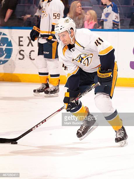 Taylor Beck of the Nashville Predators warms up before an NHL game against the St Louis Blues on February 1 2014 at Scottrade Center in St Louis...