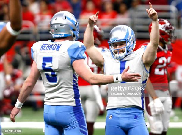 Taylor Bertolet and Austin Rehkow of Salt Lake Stallions celebrate a field goal during the first quarter of the Alliance of American Football game...