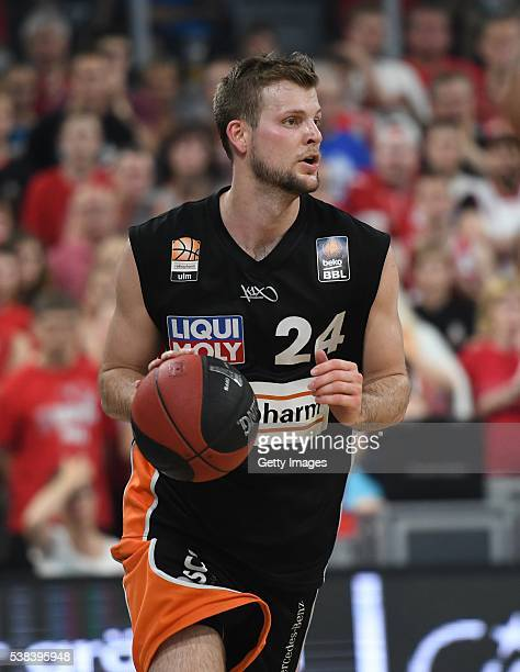 Taylor Braun dribbles the ball during the BEKO BBL Final game 1 between Brose Baskets Bamberg and ratipopharm Ulm at Brose Arena on June 5 2016 in...