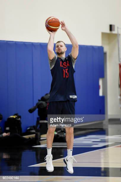 Taylor Braun of Team USA shoots the ball during practice on February 20 2018 at the LA Clippers Training Center in Playa Vista California NOTE TO...
