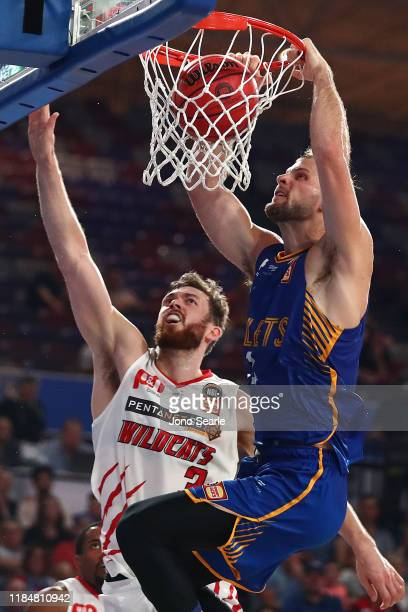 Taylor Braun of the Bullets dunks the ball during the round five NBL match between the Brisbane Bullets and the Perth Wildcats at Nissan Arena on...