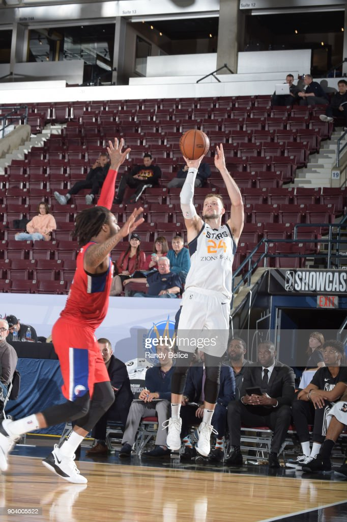 Taylor Braun #24 of the Salt Lake City Stars shoots the ball during the game against the Delaware 87ers at the NBA G League Showcase Game 12 on January 11, 2018 at the Hershey Centre in Mississauga, Ontario Canada.