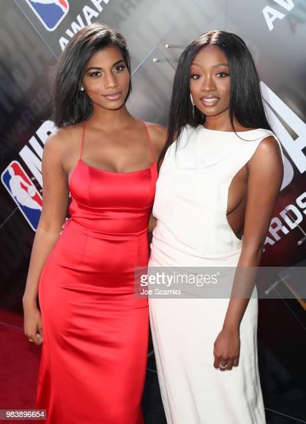 Taylor Brooks and Kayla Smith attend 2018 NBA Awards at Barkar Hangar on June 25 2018 in Santa Monica California