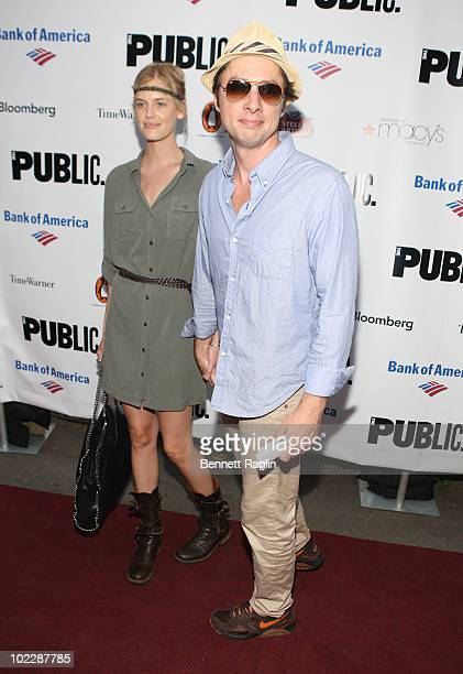 Taylor Buckley and Zach Braff attends the 2010 Public Theater Gala at the Delacorte Theater on June 21 2010 in New York City