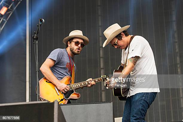 Taylor Burns and Ricky Young of The Wild Feathers perform on the Sunset Cliffs Stage during the 2016 KAABOO Del Mar at the Del Mar Fairgrounds on...