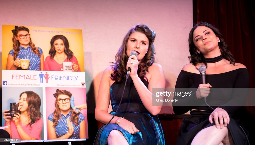 Taylor C. Baker and Chelsea Alana Rivera introduce the 'Female Friendly' Screening at The Three Clubs Hollywood Launching Now on April 30, 2018 in Los Angeles, California.