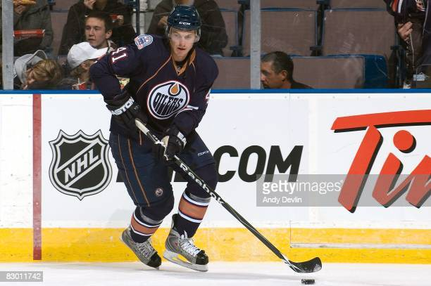 Taylor Chorney of the Edmonton Oilers skates before a preseason game against the Vancouver Canucks on September 22 2008 at Rexall Place in Edmonton...