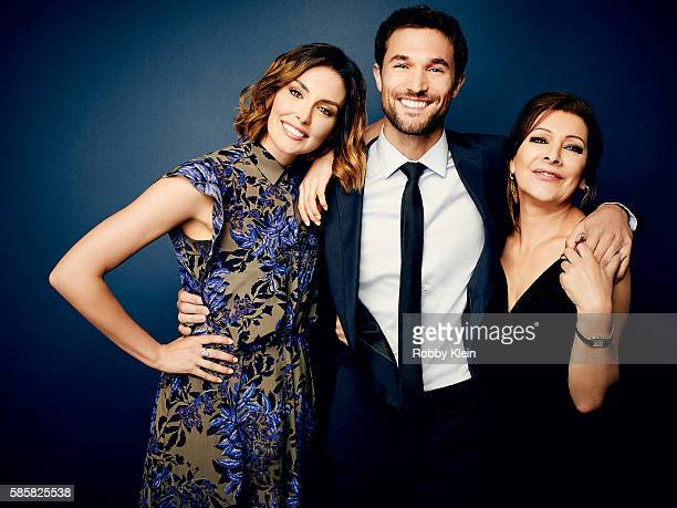 Taylor Cole Jack Turner and Marina Sirtis are photographed at the Hallmark Channel Summer 2016 TCA's on July 27 2016 in Los Angeles California