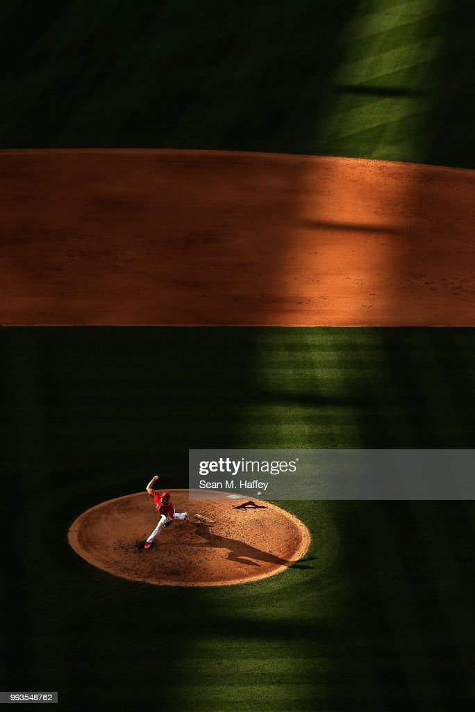 Taylor Cole #67 of the Los Angeles Angels of Anaheim pitches during the fifth inning of a game against the Los Angeles Dodgers at Angel Stadium on July 7, 2018 in Anaheim, California.