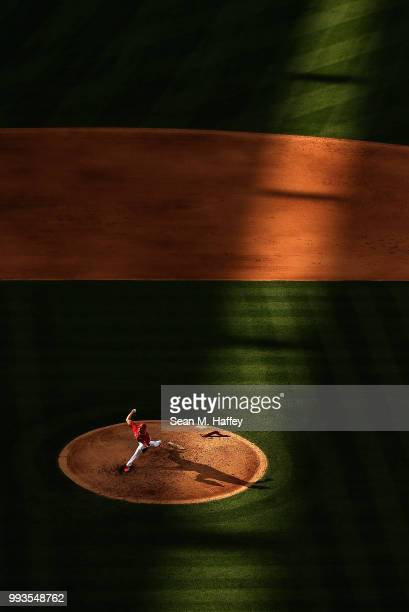 Taylor Cole of the Los Angeles Angels of Anaheim pitches during the fifth inning of a game against the Los Angeles Dodgers at Angel Stadium on July 7...
