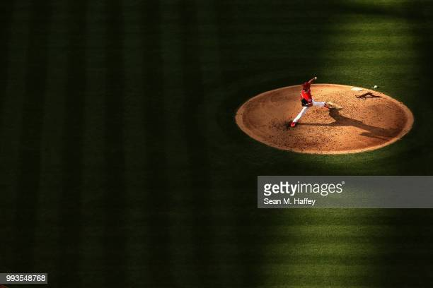 Taylor Cole of the Los Angeles Angels of Anaheim pitches during the fifth inning of a game against the Los Angeles Dodgers at Angel Stadium on July...