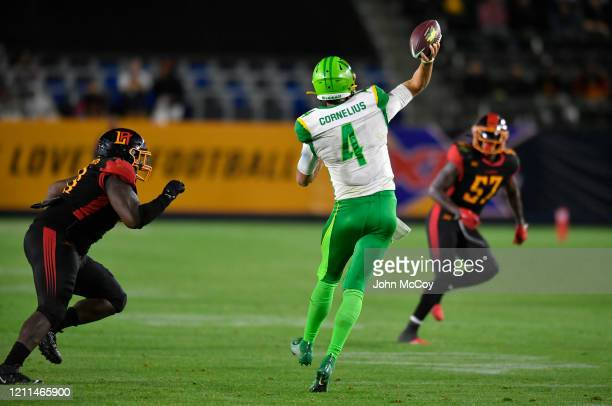 Taylor Cornelius of the Tampa Bay Vipers passes the ball while playing the LA Wildcats at Dignity Health Sports Park during an XFL game on March 8...