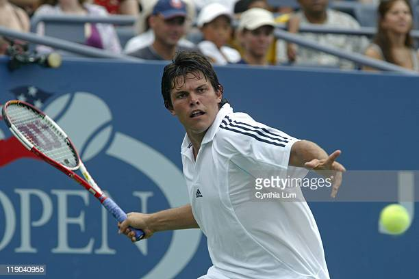Taylor Dent during his match against Lars Burgsmuller in the first round of the 2005 US Open at the USTA National Tennis Center in Flushing New York...