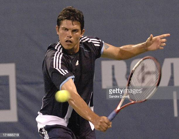 Taylor Dent reaches for a return in his Match with Jan=Michael Gambell won by Dent 63 64 in the RCA Championships in Indianapolis IN on July 20 2004