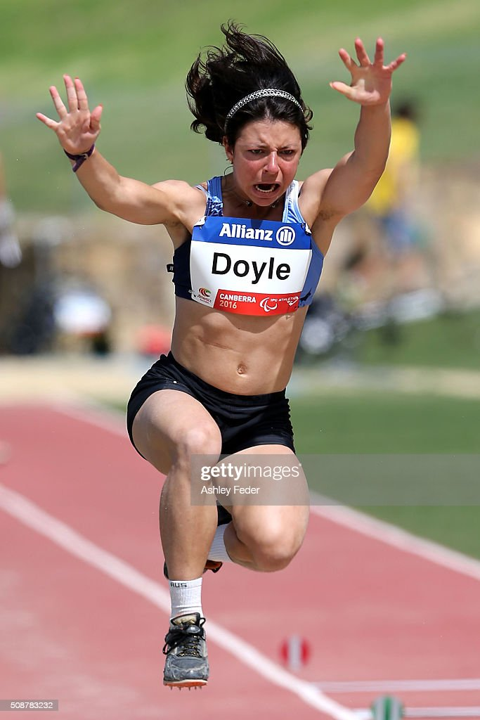 Taylor Doyle of NSWIS competes in the womens long jump (Ambulant 13) during the IPC Athletics Grand Prix on February 6, 2016 in Canberra, Australia.