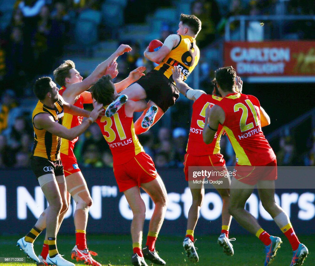 Taylor Duryea of the Hawks marks the ball during the round 14 AFL match between the Hawthorn Hawks and the Gold Coast Suns at University of Tasmania Stadium on June 23, 2018 in Launceston, Australia.