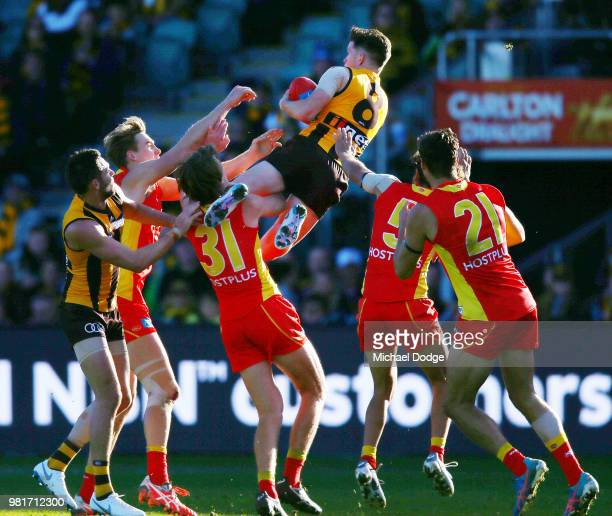 Taylor Duryea of the Hawks marks the ball during the round 14 AFL match between the Hawthorn Hawks and the Gold Coast Suns at University of Tasmania...