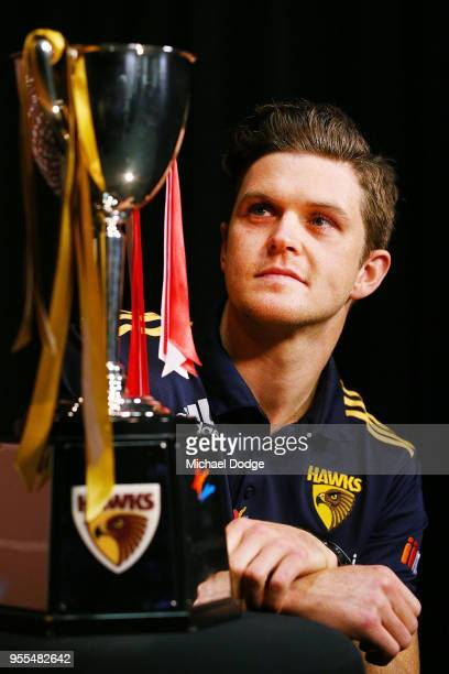 Taylor Duryea of the Hawks poses with the beyondblue Cup speaks to the media during a Hawthorn Hawks AFL media opportunity at Waverley Park on May 7...