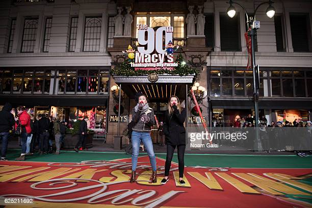 Taylor Dye and Maddie Marlow of Maddie Tae perform at the 90th anniversary Macy's Thanksgiving day parade rehearsals at Macy's Herald Square on...