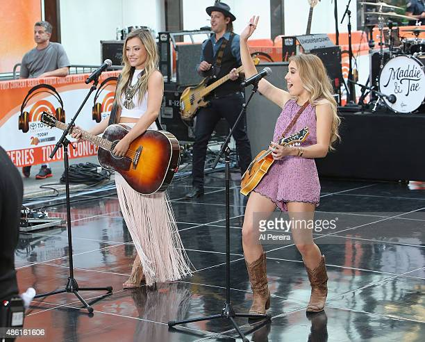 Taylor Dye and Madison Marlow of Maddie Tae perform on NBC's Today Show at Rockefeller Plaza on September 1 2015 in New York City