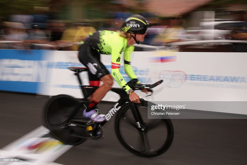 Taylor Eisenhart of the United States riding for Team Holowesko-Citadel p/b Arapahoe Resources rides from the start during stage four of the 13th Amgen Tour of California 2018 San Jose / Morgan Hill a 34.7 km Individual Time Trial on May 16, 2018 in Morgan Hill, California.