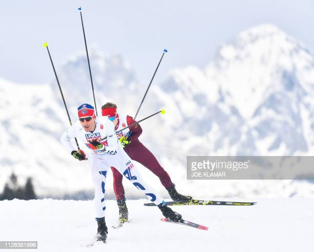 Taylor Fletcher competes in the men's Nordic Combined team Cross-Country 4x5 km event at the FIS Nordic World Ski Championships on March 2, 2019 in...