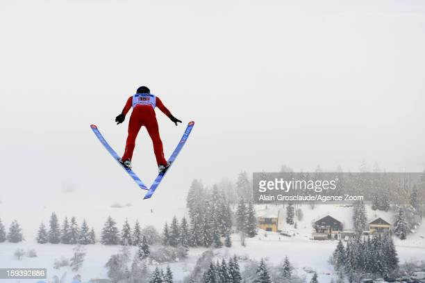 Taylor Fletcher of the United States competes during the FIS Nordic Combined World Cup Team Sprint on January 13, 2013 in Chaux-Neuve, France.
