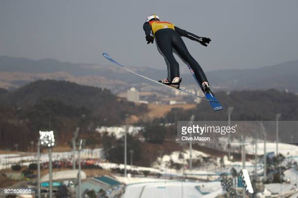 Taylor Fletcher of the United States competes during the Nordic Combined Team Gundersen LH/4x5km Ski Jumping Trial Round on day thirteen of the...