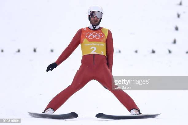 Taylor Fletcher of the United States competes during the Nordic Combined Team Gundersen LH/4x5km Ski Jumping Competition Round on day thirteen of the...
