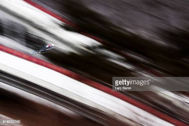 Taylor Fletcher of the United States makes a trial jump during the Nordic Combined Individual Gundersen Normal Hill and 10km Cross Country on day...