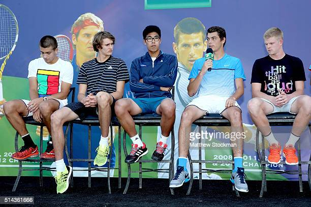 Taylor Fritz addresses the audiance while participating in the ATP #NextGen player panel with Borna Coric of Croatia Alexander Zverev of Germany...