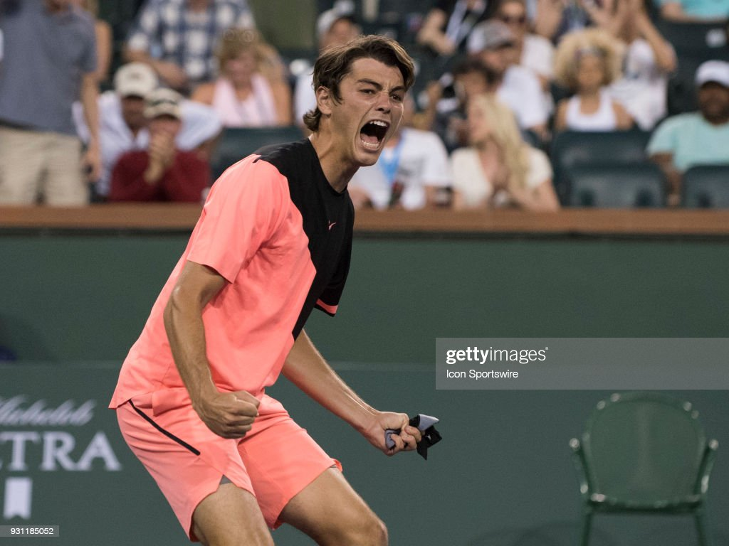 Taylor Fritz (USA) celebrates his 3rd round win over Fernando Verdasco (ESP) in the men's singles during the BNP Paribas Open on March 12, 2018 at the Indian Wells Tennis Garden, Indian Wells, CA. (Photo by Cynthia Lum/Icon Sportswire via Getty Images