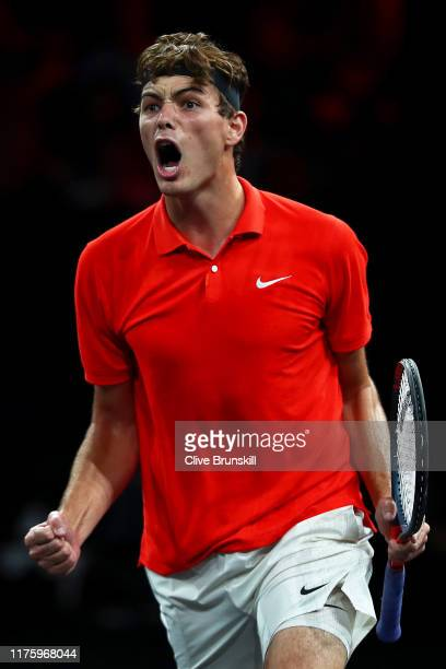 Taylor Fritz of Team World celebrates in his singles match against Stefanos Tsitsipas of Team Europe during Day One of the Laver Cup 2019 at Palexpo...